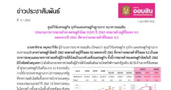 ประมาณการการขยายตัวทางเศรษฐกิจไทย (GDP) ปี 2562