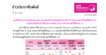 ประมาณการการขยายตัวทางเศรษฐกิจไทย (GDP) ปี 2562 ณ เดือนกันยายน