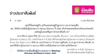 ผลการสำรวจดัชนีความเชื่อมั่นผู้ประกอบการ Startup (SSI)